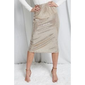 Sequins Sparkle Taupe Skirt